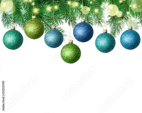 Leinwandbild Motiv Christmas Decoration Over Wooden Background. Christmas Balls.