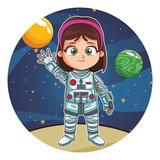 Astroanut girl cartoon - 232528716