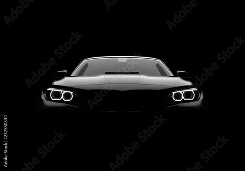 Front view of a generic and brandless modern car on a black background - 232530534
