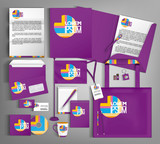 Violet trendy corporate identity template design. Modern abstract business set stationery - 232539590