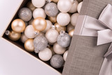 Christmas ball collection in a box. Directly above. Christmas holiday concept. - 232551741