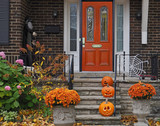 front porch with Halloween decorations - 232552920