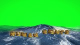 Human rights text floating in the water on green screen - 232554927