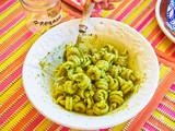 Trottole al Pesto, typical pasta of Campania, on a rustic trattoria presentation. - 232554999