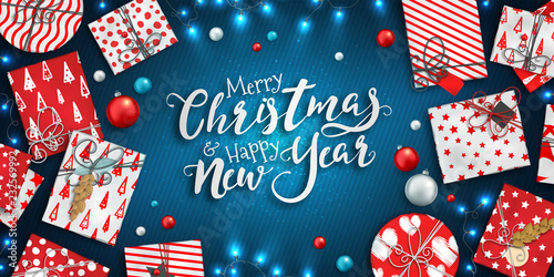 merry christmas and happy new year banner with christmas decoration colorful balls red and