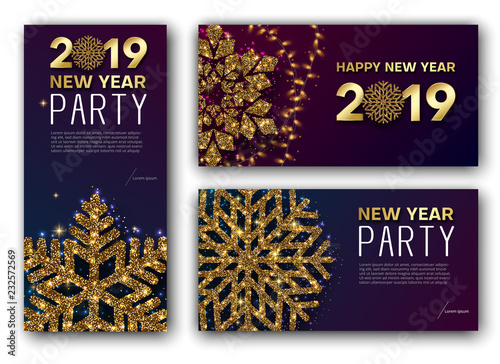 happy new year 2019 greeting card and party invitation card with golden snowflake