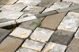 Broken blue bricks on the ground - 232584597
