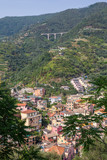 Looking back to the town of Monterosso al Mare and the freeway bridge high above the town, Liguria, Italy - 232588966