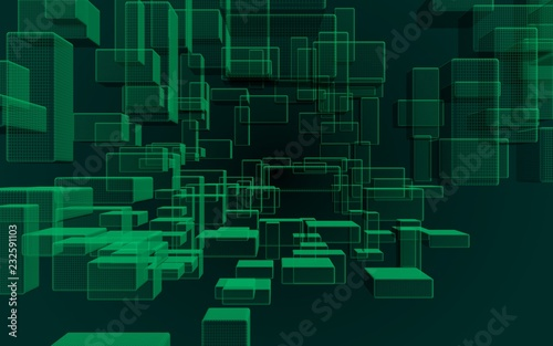 Green and dark abstract digital and technology background. The pattern with repeating rectangles. 3D illustration - 232591103