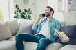 Leinwanddruck Bild - Profile side view photo of bearded man sit half turn indoor brig