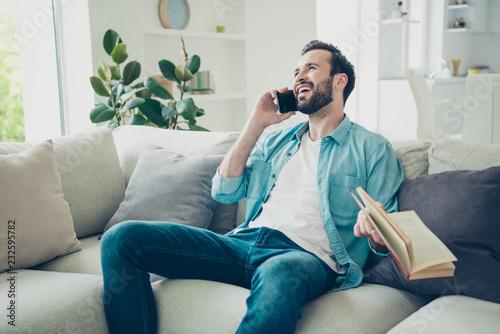 Leinwanddruck Bild Profile side view photo of bearded man sit half turn indoor brig