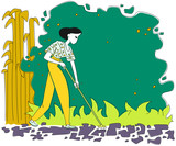 Woman with rakes working in the garden. Spring or summer gardening. Hand drawn vector illustration. - 232598577