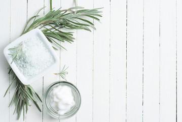 Lavender and body cream, bath salt