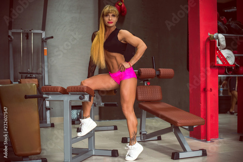 Sticker Fit mature woman work in GYM. Exercises for middle age lady, bodybuilder train, sports lifestyle