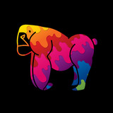Gorilla, King Kong standing side view graphic vector
