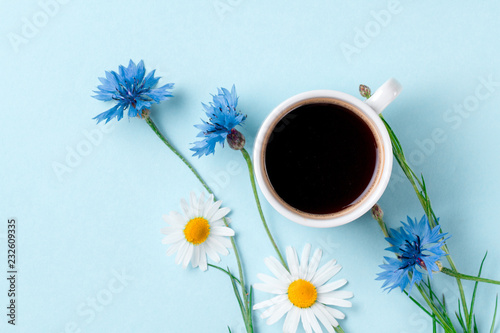 Leinwanddruck Bild Spring background. Cornflowers, chamomile and a cup of hot coffee on a blue background. Top view