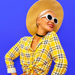 Smile Model country Beach style. Fashion accessories hat and sunglasses. Checkered shirt trends