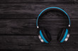 blue headphone on black