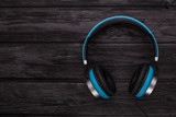 blue headphone on black - 232617578