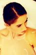 Leinwanddruck Bild - Woman relaxing in bathtub with bubble