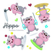 Illustration set of Cute Acrobatic Hippo Character with Cartoon Style - 232627737