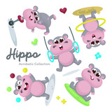 Illustration set of Cute Acrobatic Hippo Character with Cartoon Style © Salma