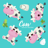 Illustration set of Cute Cow Character with Different pose