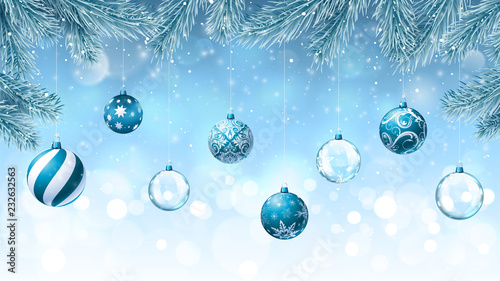 Christmas background with fir branches an decorations © ornitozavr