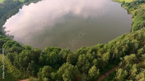 Wall mural Lake taken by drone in summer