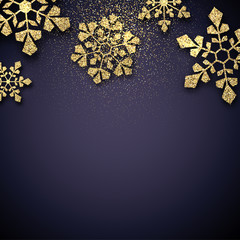 Christmas and New Year background with golden shiny snowflakes.