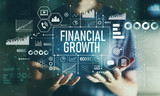 Financial growth with young man in the night - 232642569