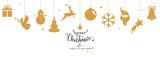 Christmas border with hanging balls