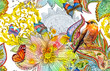 Leinwandbild Motiv abstract seamless pattern with fancy blossoms and bird. watercolor painting