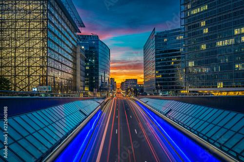 Poster Bruxelles -  European Union - Sunset