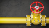 Gas pipeline valve on a wall. Space for text. Gas pressure control. - 232654911