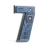 Number 7 seven, Alphabet in circuit board style. Digital hi-tech letter isolated on white. - 232655124
