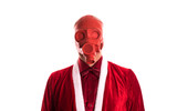 a man in a red gas mask - 232659561