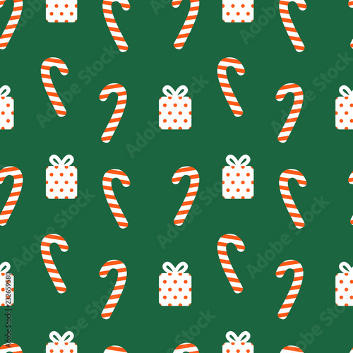 fototapeta na ścianę Christmas Candy and Gifts seamless vector pattern. Green, red and white texture for Wrapping Paper