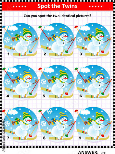 Winter or winter holidays themed visual puzzle with skiing snowmen: Can you spot the two identical pictures? Answer included.