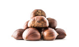 Chestnuts isolated on white background and studio shot - 232666106