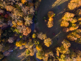 Aerial View of Farm Land in the Fall - 232666795