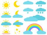 Weather icons: sun, moon, cloud, rain, rainbow. Vector illustration. - 232668163