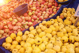 Turkish farmer market. Heap of fresh organic fruits on the counter quince, apples, pears - 232669571