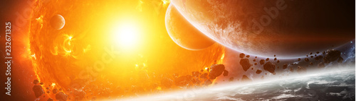 Foto Murales Exploding sun in space close to planet 3D rendering elements of this image furnished by NASA