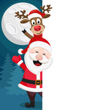 Santa Claus and a deer look out from behind the white shield. Place for text.