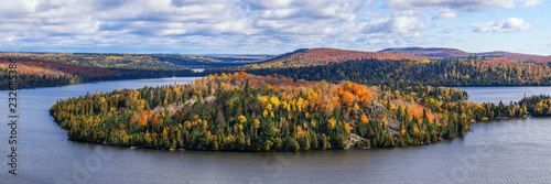 Fall foliage vista of the Superior National Forest. View on Caribou Lake, North Shore of Lake Superior, Minnesota. © Igor Kovalenko
