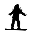 Vector silhouette of girl who rides on a snowboard.