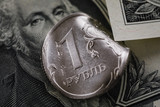 Concept on the economic crisis: Russian ruble and US Dollar close-up, top view - 232693107