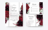 Wedding invite, invitation card, rsvp, thank you cards floral design. Vintage Red rose flowers, burgundy dahlia, eucalyptus silver greenery branches, berries decoration. Bohemian boho chic stylish set - 232698936