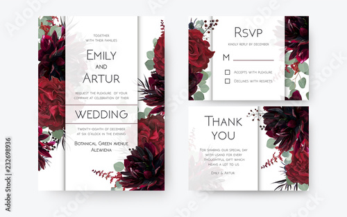 Poster Wedding invite, invitation card, rsvp, thank you cards floral design. Vintage Red rose flowers, burgundy dahlia, eucalyptus silver greenery branches, berries decoration. Bohemian boho chic stylish set